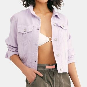 Free People Rumors Denim Jacket Lilac